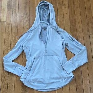 Athleta size small 1/4 zip hoodie gray and white